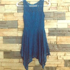 Girls Teal Lace Dress